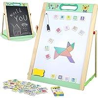 Pizarra Infantil Magnética Juguetes Montessori Puzzle de Madera Caballete Doble Cara con Pizarra Blanca Letras y Numeros…