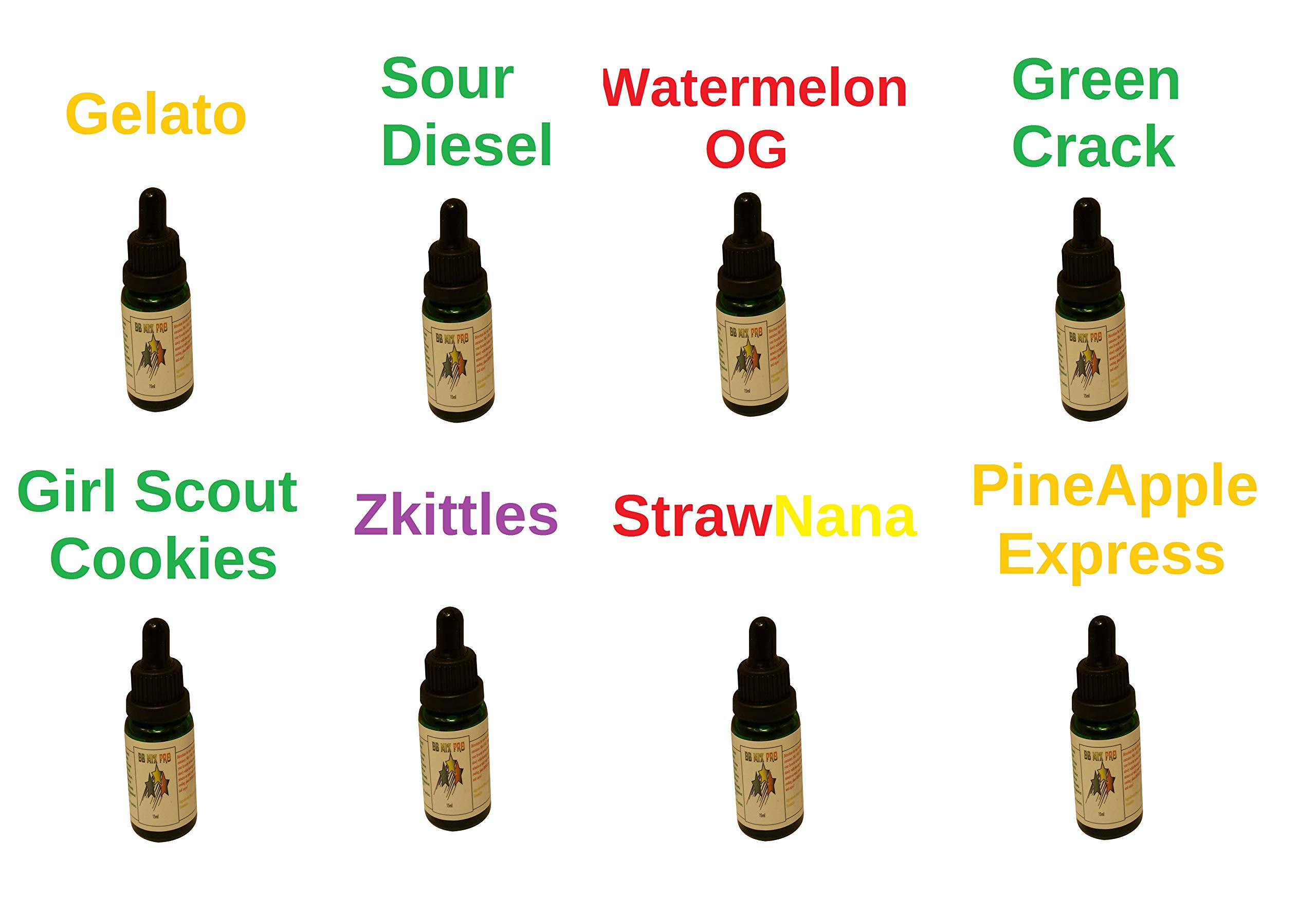 8 Pack of 15ml Bottles Terpene Infused Liquidizer 99% Pure Colorado Terpenes Strain Profiles