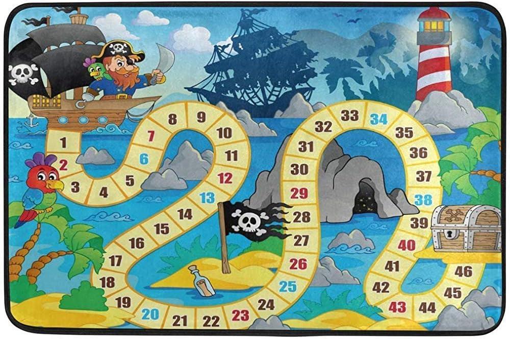 OKME Custom Felpudo, Juego de Mesa temático Pirata para niños 60 x 40 cm, Sala de Estar, Dormitorio, Cocina, baño, Alfombra Decorativa de Espuma Ligera Impresa: Amazon.es: Hogar