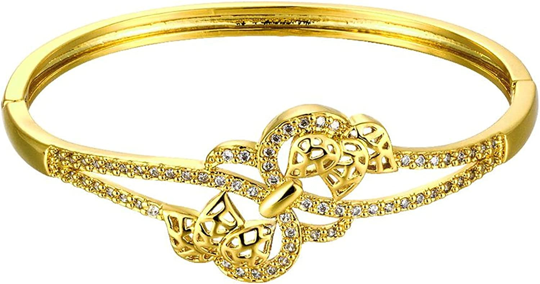 Gnzoe Fashion Jewelry Gold Plated Womens Charm Bracelet Bangle Cubic Zirconia Hollow Heart Shape Gold