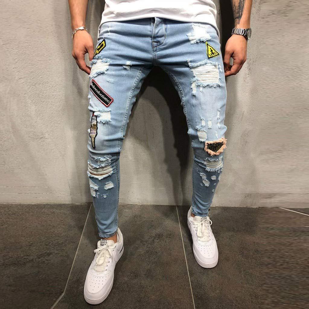 Mymyguoe Hombres Slim Fit Skinny Pantalones Vaqueros Casuales Agujero Ripped Deshilachado Personalidad Jeans Cremallera Vintage Pantalones Largos: ...