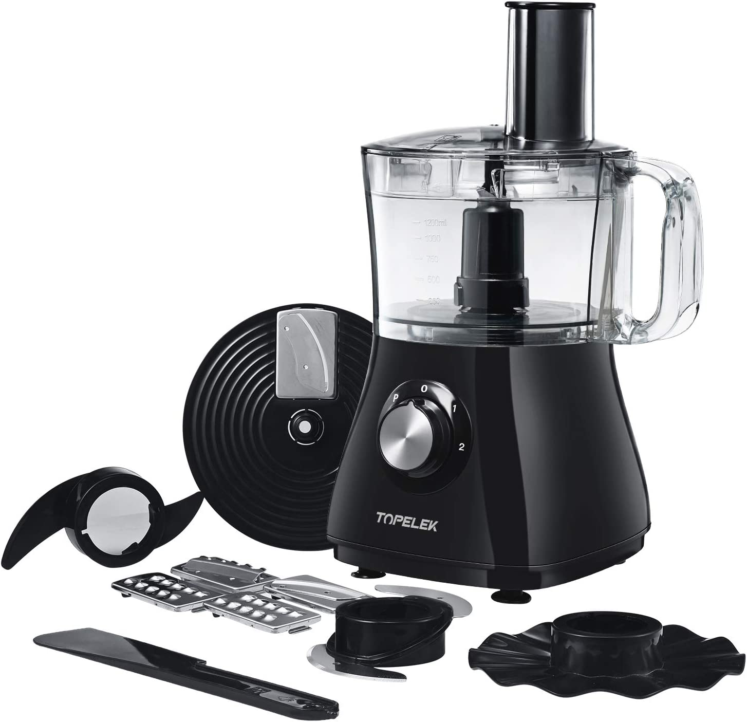 Food Processor, TOPELEK Food Processor Blender and Chopper, 2L Large Capacity, 2 Speed Options and Pulse Function, Chop, Puree, Shred and Slice for Meat, Vegetables, Fruits and Nuts, 500W