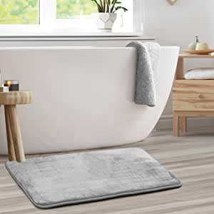 "Clara Clark Memory Foam Bath Mat Set - Non Slip, Absorbent, Soft Bath Rug Set - Fast Drying Washable Bath Mat - Silver - Large Size 20"" x 32"""