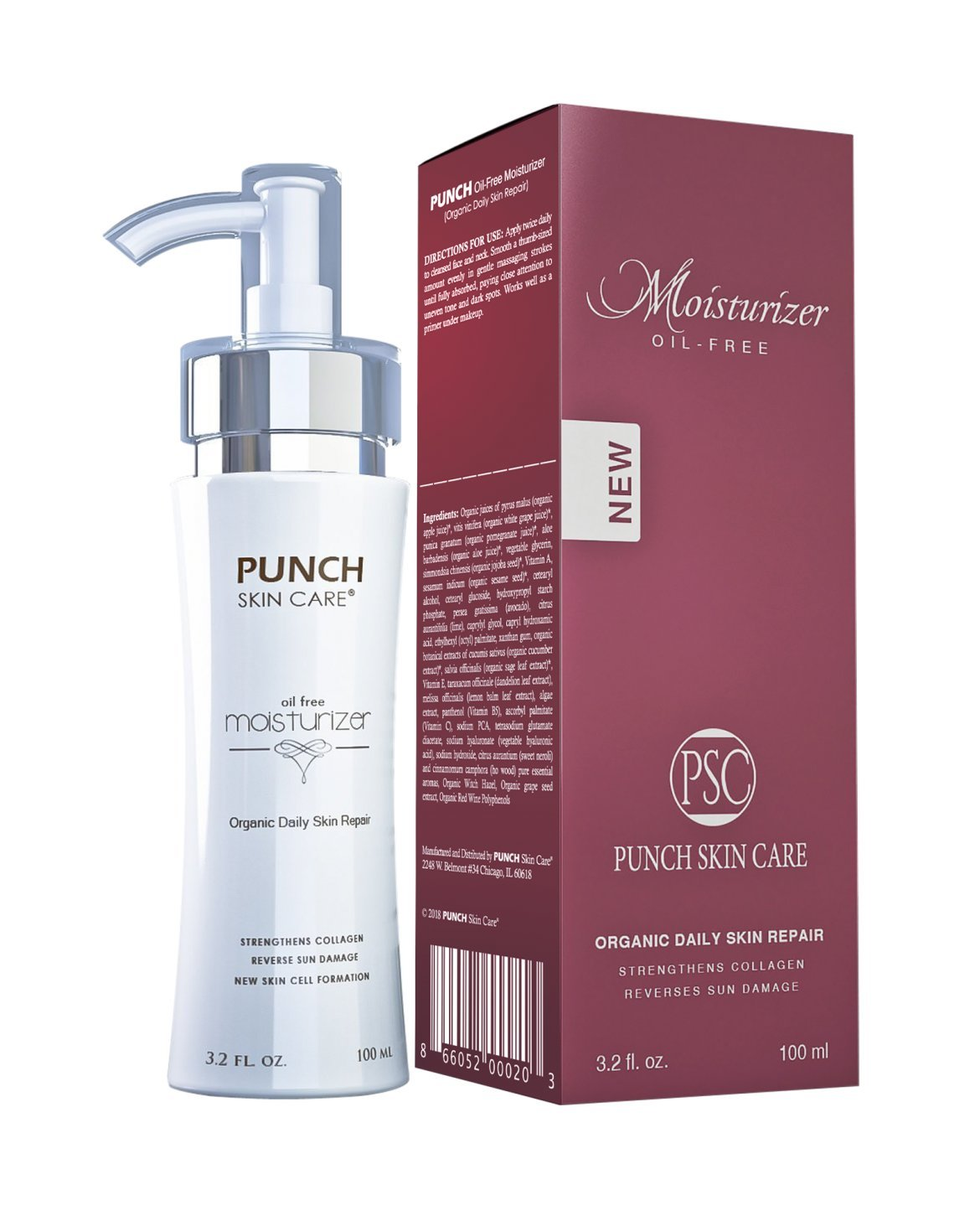 Upgrade Your Skin with Punch Skin Care Premium Daily Skin Repair Facial Moisturizer | All Natural Oil-Free Facial Moisturizing, (4 fl. oz)