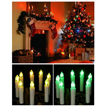 20pcs changing color led taper candles lights led with remote control brightly flameless battery operated - Christmas Decorations Battery Operated Candles