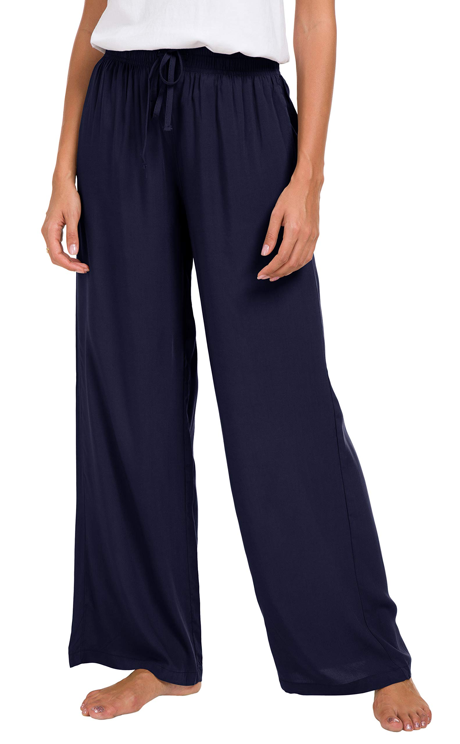 Urban CoCo Women's Solid Color Drawstring Lounge Pants (L, Navy Blue)
