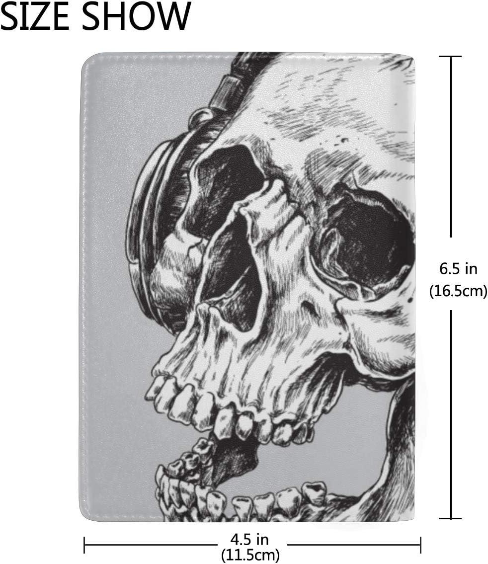 Personalize Passport Holder Case Skeleton Wearing Headphones Stylish Pu Leather Travel Accessories Passport Kids Case For Women Men