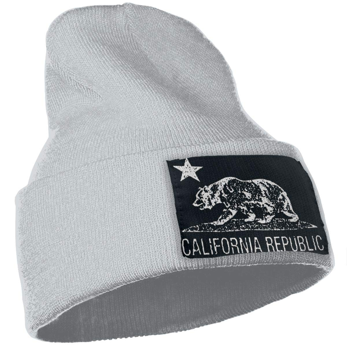 JimHappy California Bear Winter Warm Hats,Knit Slouchy Thick Skull Cap Black