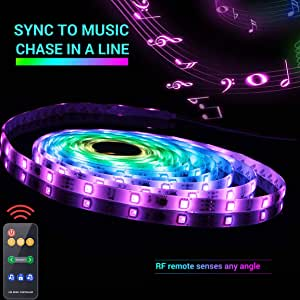 Led Strip Lights Sync to Music 5M 16.54ft Chase Effect Led Lights Kit 5050 RGB Led Rope Lights Waterproof Led Lights Strip with 360 Degree Signals Accept RF Remote 12V AC Adapter Powered