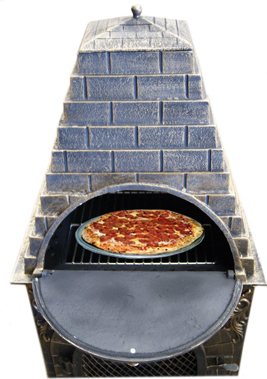 Amazon.com : Deeco DM 0039 IA C Aztec Allure Cast Iron Pizza Oven Chiminea  : Garden U0026 Outdoor