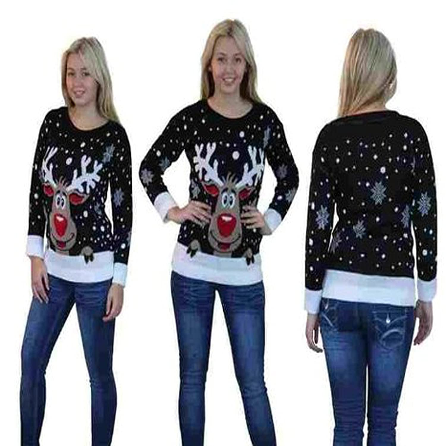 Style Fashion-women Novelty Rudolph Xmas Christmas Snowflake Jumper