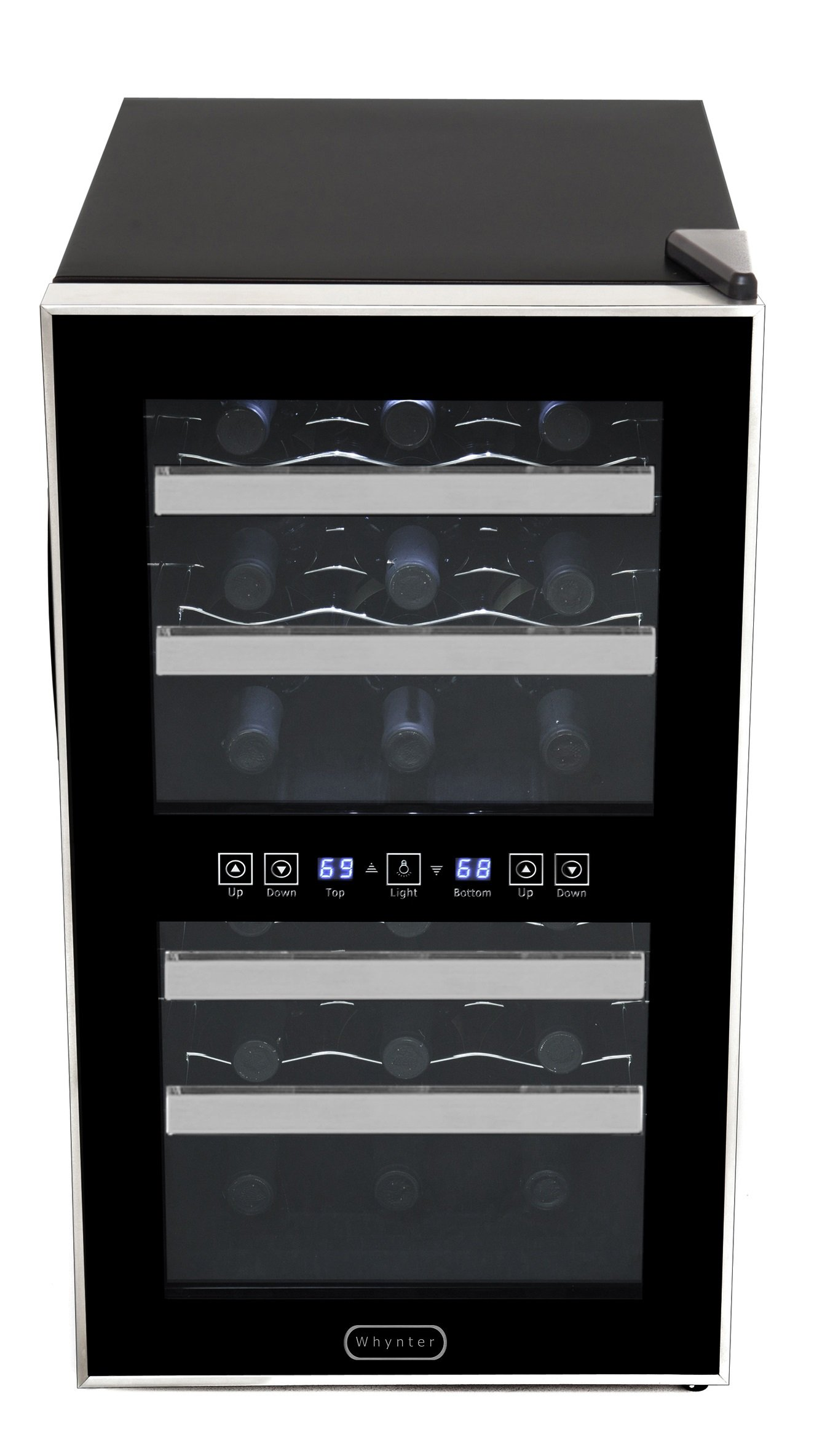 Whynter WC-181DS 18 Bottle Dual Zone Touch Control Wine Cooler, Black with Stainless Steel Trim