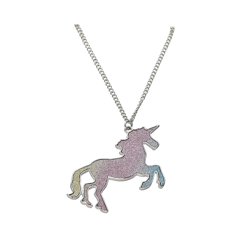 Tono Plateado Resplandecer Arco iris Derramar Unicornio Collar Colgante Oaonnea jewelry NL-0405-2A