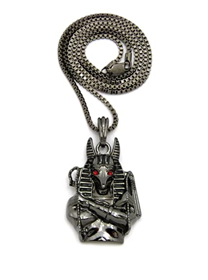Egyptian god red eye anubis pendant 24 various chain necklace in egyptian god red eye anubis pendant 24quot various chain necklace in hematite tone aloadofball Images