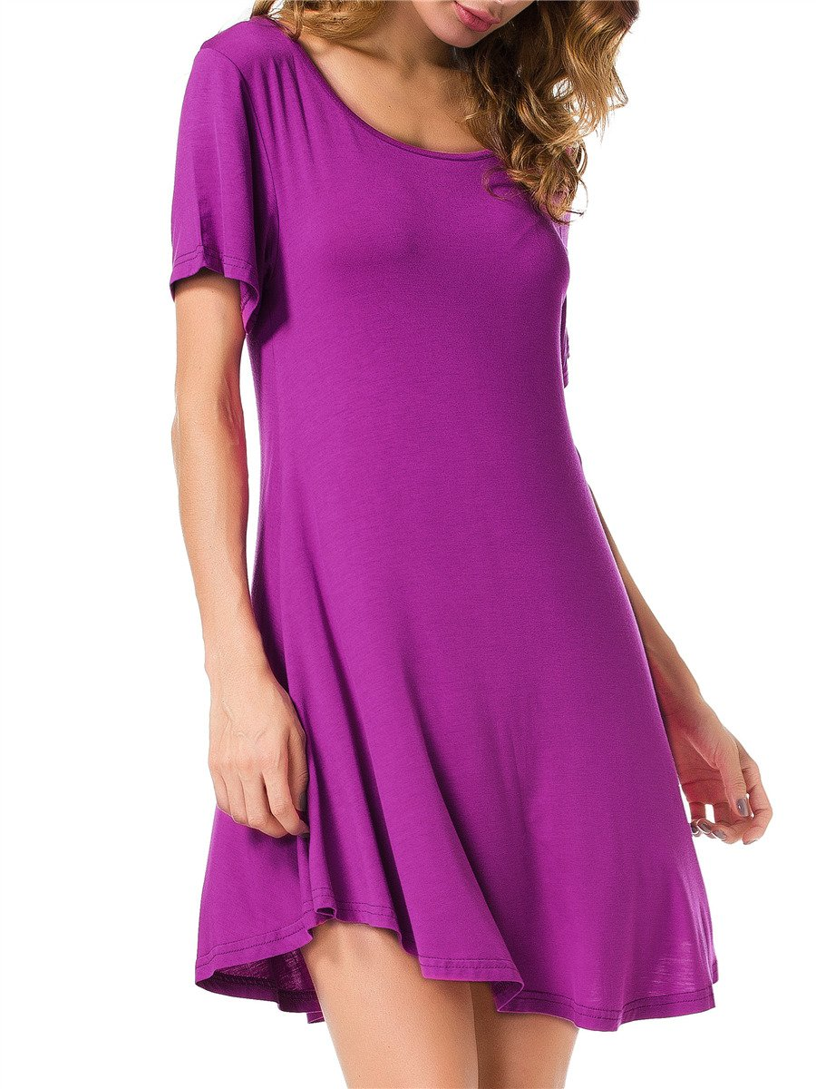 JollieLovin Women's Tunic Top Casual Short Sleeve Swing Loose T-Shirt Dress (Fushia, M)