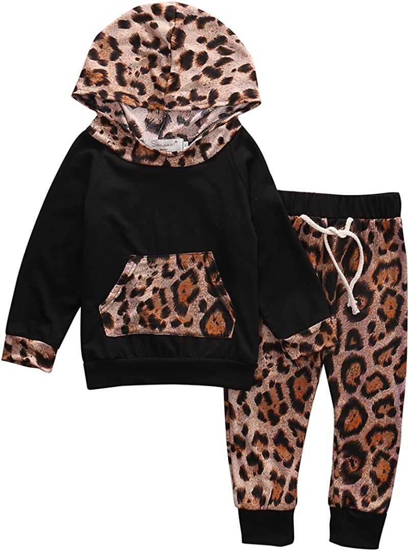 Carolilly Neonata 2 PCS Completo Coordinato Bambina Felpa Stampa 3D Leopardata con Cappuccio Manica Lunga+Pantaloni Sportivo Autunno Primavere Inverno