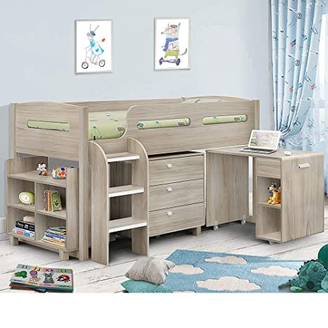 promo code f2446 6bdb7 Happy Beds Kids Mid Sleeper Bed, Kimbo Oak Wood Contemporary Desk Drawers  Shelf Storage Bed Cabin Bed - 3ft Single (90 x 190 cm) Frame Only