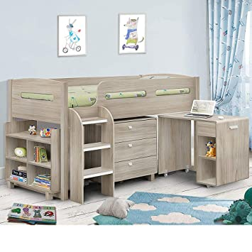 new product 4a6f5 99fa5 Kids Mid Sleeper Bed, Happy Beds Kimbo Oak Wood Contemporary Desk Drawers  Shelf Storage Bed Cabin Bed Frame - 3ft Single (90 x 190 cm) with ...