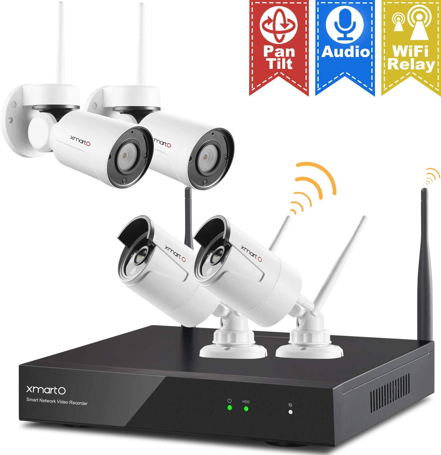 Pan Tilt Expandable xmartO Hybrid Wireless Security Camera System with 8CH NVR, 2Pcs Wireless PT Cameras Built-in Audio , 2Pcs Fixed-Angle WiFi Bullet Cameras Audio Compatible , No HDD