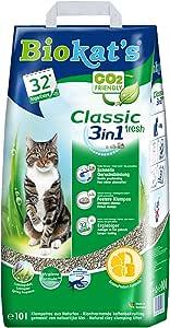 Biokat's Classic Fresh 3in1, arena para gatos con fragancia primavera – Arena aglomerante para gatos: de alta calidad y con 3 tamaños diferentes de grano – 1 bolsa de papel (1 x 10 l)