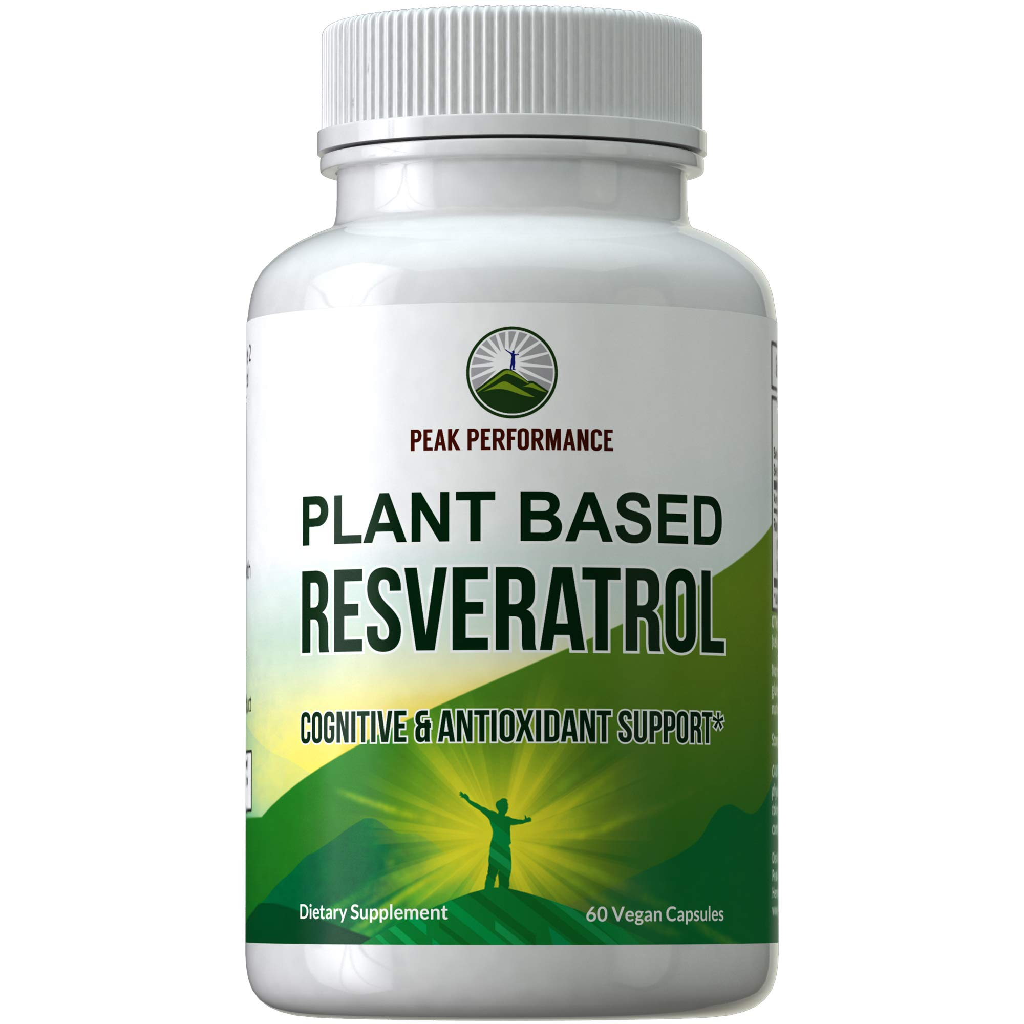 Resveratrol 500mg - Best Plant Based Resveratrol Supplement by Peak Performance. Made in USA. Capsules Rich in Polyphenols from Natural Plant Extracts. 2 Pills Equals 1000mg. Reservatrol Supplement by Peak Performance