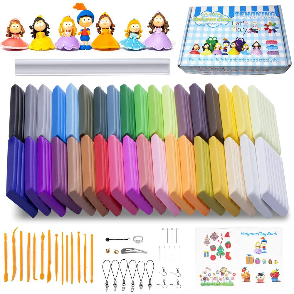Polymer Clay Oven Bake Clay 36 Colors Rolling Pin Safe and Nontoxic Soft DIY Modelling Moulding Clay with 14 Modeling Tools and Accessories