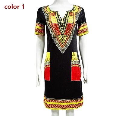 651b2e6e30c Rick Rogers Dress New Summer Sexy African Print Shirt Dresses Femme Vintage  Mini Hippie Plus Size Boho Women Casual Clothing at Amazon Women s Clothing  ...