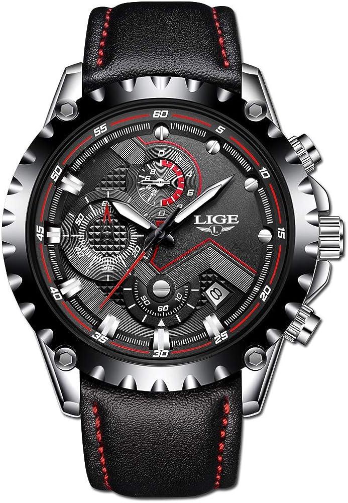 LIGE Relojes Hombres Impermeable Militar Deportivo Analógico Cuarzo Relojes Hombre Moda Negro Cuero Relojes