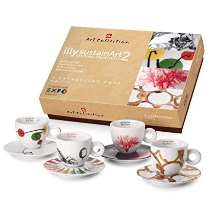 Illy 4 tazas de café, diseño Cappuccino Art Collection Sustainart 2015, cerámica, multicolor