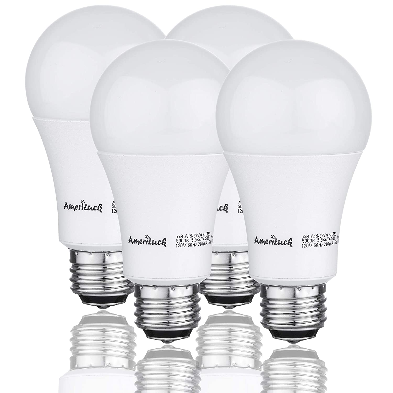 4 Pack 40-60-100W Equivalent Omni-Directional UL Listed AmeriLuck 5000K Daylight 3-Way LED Light Bulb A19