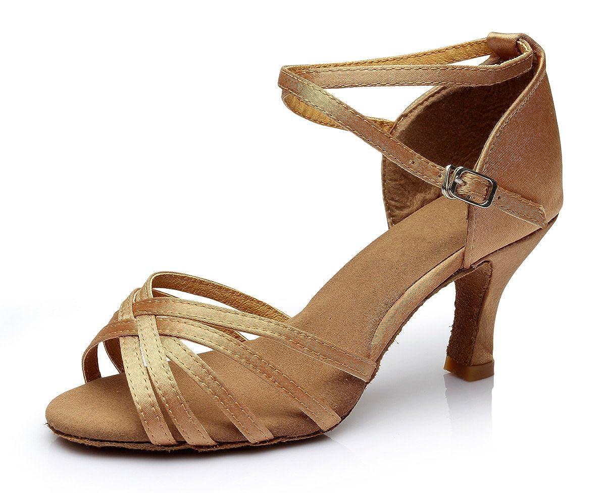 VESI-Zapatos de Baile Latino de Tacó n Alto/Medio para Mujer Marró n 38 VZA0001KG38