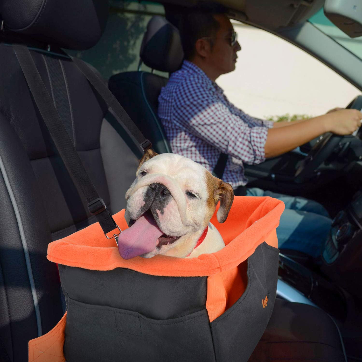 Legendog Dog Car Seat, Pet Booster Portable Travel Pet Car Seat Carrier for Dogs & Cats, Waterproof Pet Booster Carrier with Cushion & Adjustable Strap (Pet Car Seat)