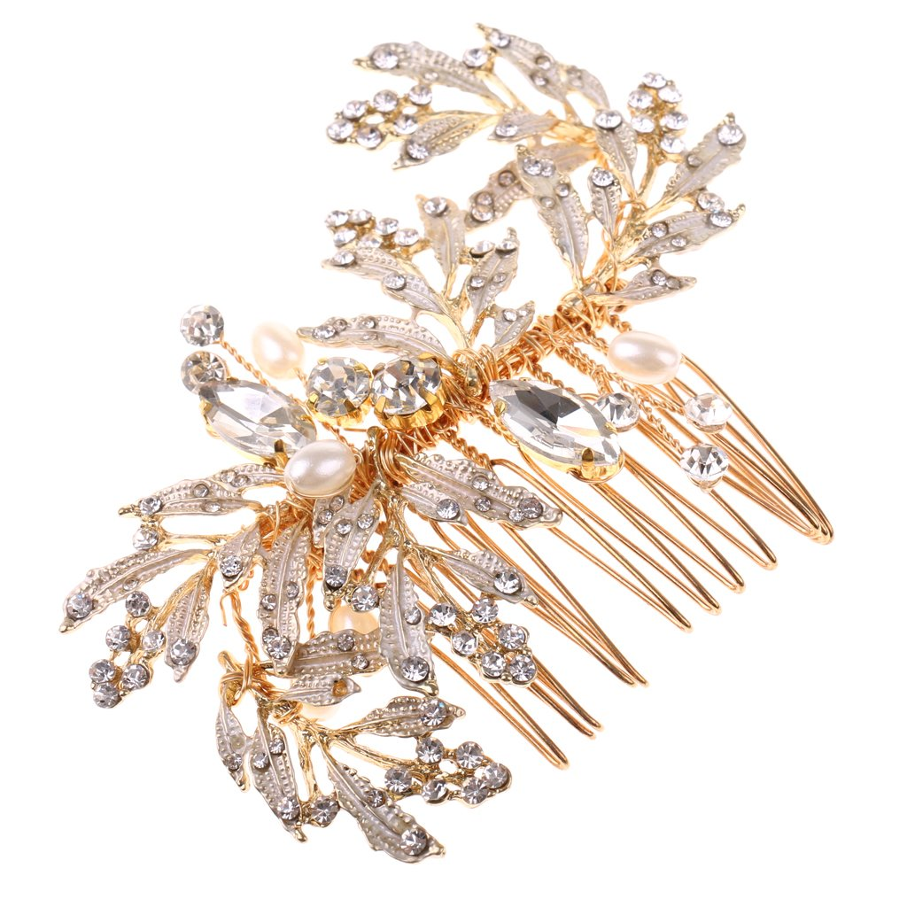 Dovewill Ladies Gold Alloy Crystals Pearls Vine Hair Comb Wedding Party Hair Accessories