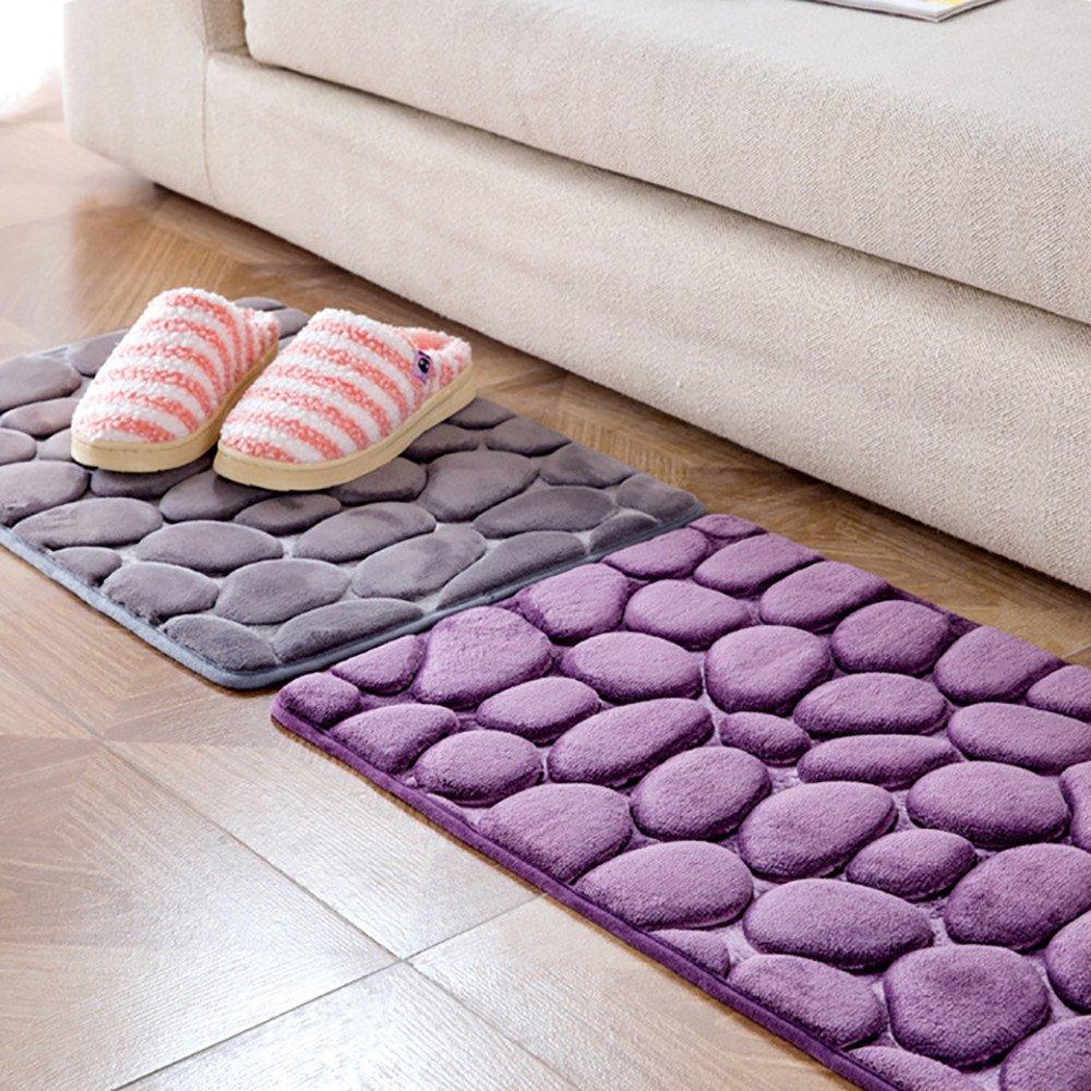 Memory Foam Bath Mat Carpet Floor Mats Sencillo Vida Alfombras de Ba/ño Antideslizante Guijarro Alfombrilla de ba/ño Fabricada en Tejido Polar Coral Super Suave 40x60cm Rectangular