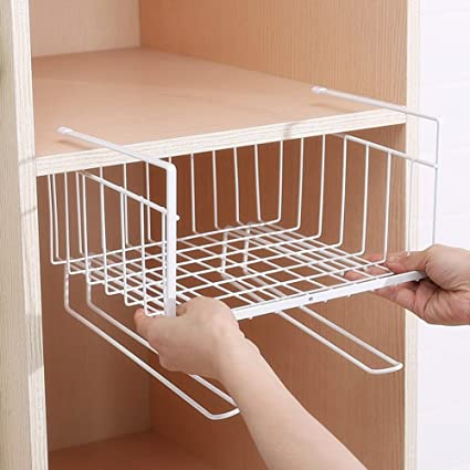 Under Cabinet Storage Shelf Wire Basket Organizer Fit Dual Hooks For Kitchen Pantry Desk Bookshelf Cupboard