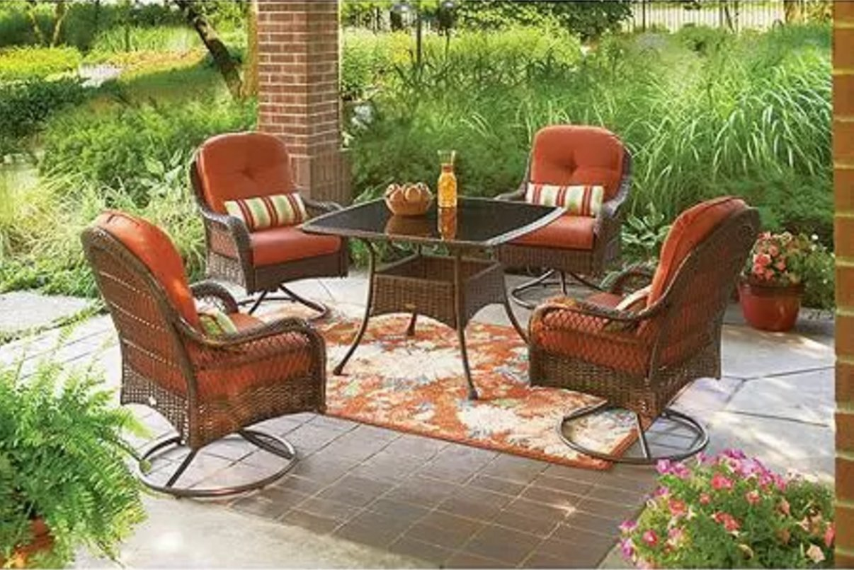Amazon.com: 5 Piece Patio Dining Set, Seats 4, Deck, Chairs, Comfort,  Lounge, Bbq, Furniture, Outside, Weather, Rain, Party: Garden U0026 Outdoor