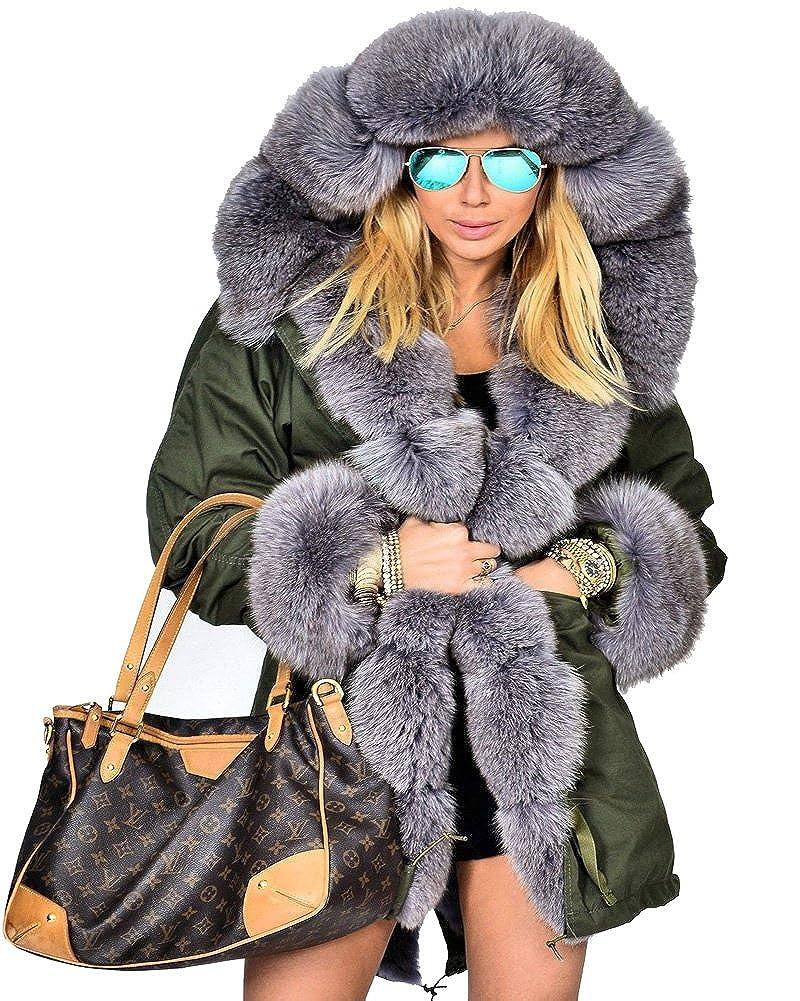 Amry 7008 Roiii Women Thicken Warm Winter Coat Hood Parka Overcoat Long Jacket Outwear