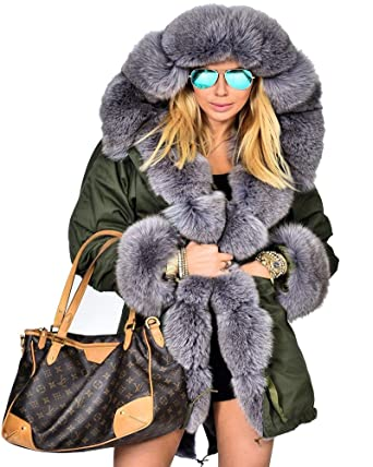 b7b13aba100 Roiii Women Thicken Warm Winter Coat Hood Parka Overcoat Long Jacket Outwear  (S