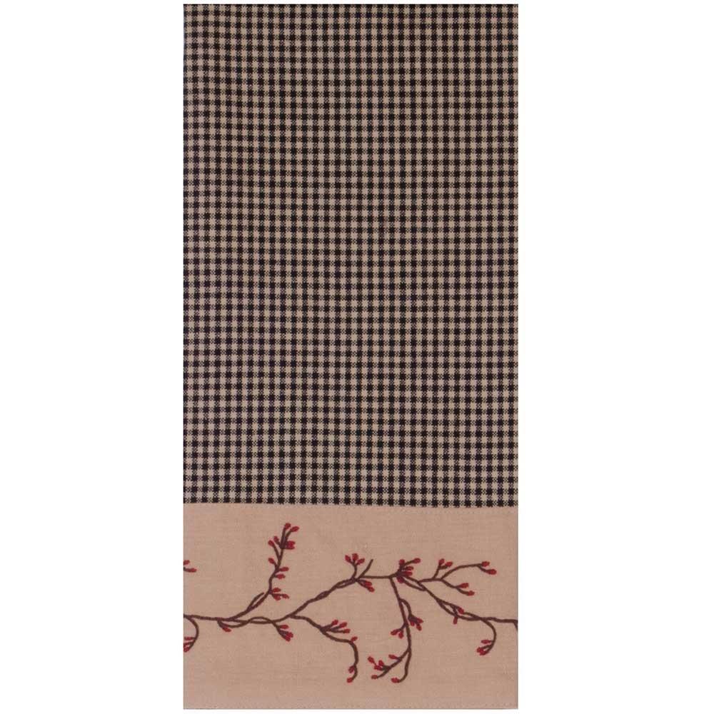 Berry Vine Gingham Check Kitchen Towel - Black - Set of 6 by Primitive Home Decors