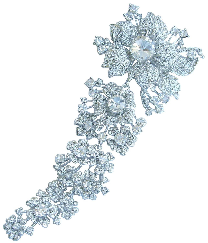 "Sindary Wedding Bouquet Silver-Tone Clear Austrian Crystal 7.28"" Bridal Orchid Flower Brooch Pin BZ4704"