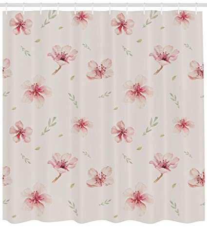Lunarable Dusty Rose Shower Curtain Vintage Pattern Of Cherry Blossoms Ornate Spring Garden Inspired