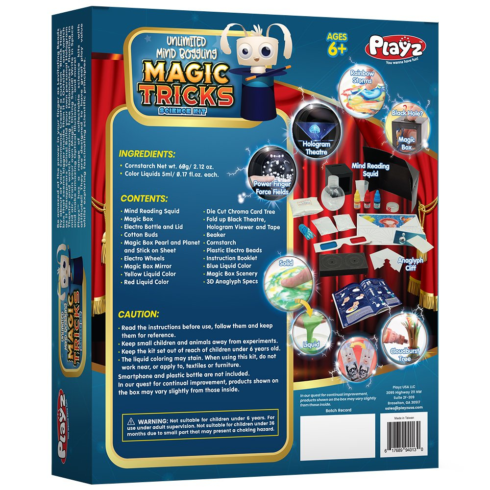Playz Unlimited Mind Boggling Magic Tricks Science Kit - 27+ Tools to Make Dancing Holograms, Levitating Bead Shows, Disappearing Coin & Infinity Box, Optical Illusions & more for Boys & Girls Ages 6+ by Playz (Image #1)