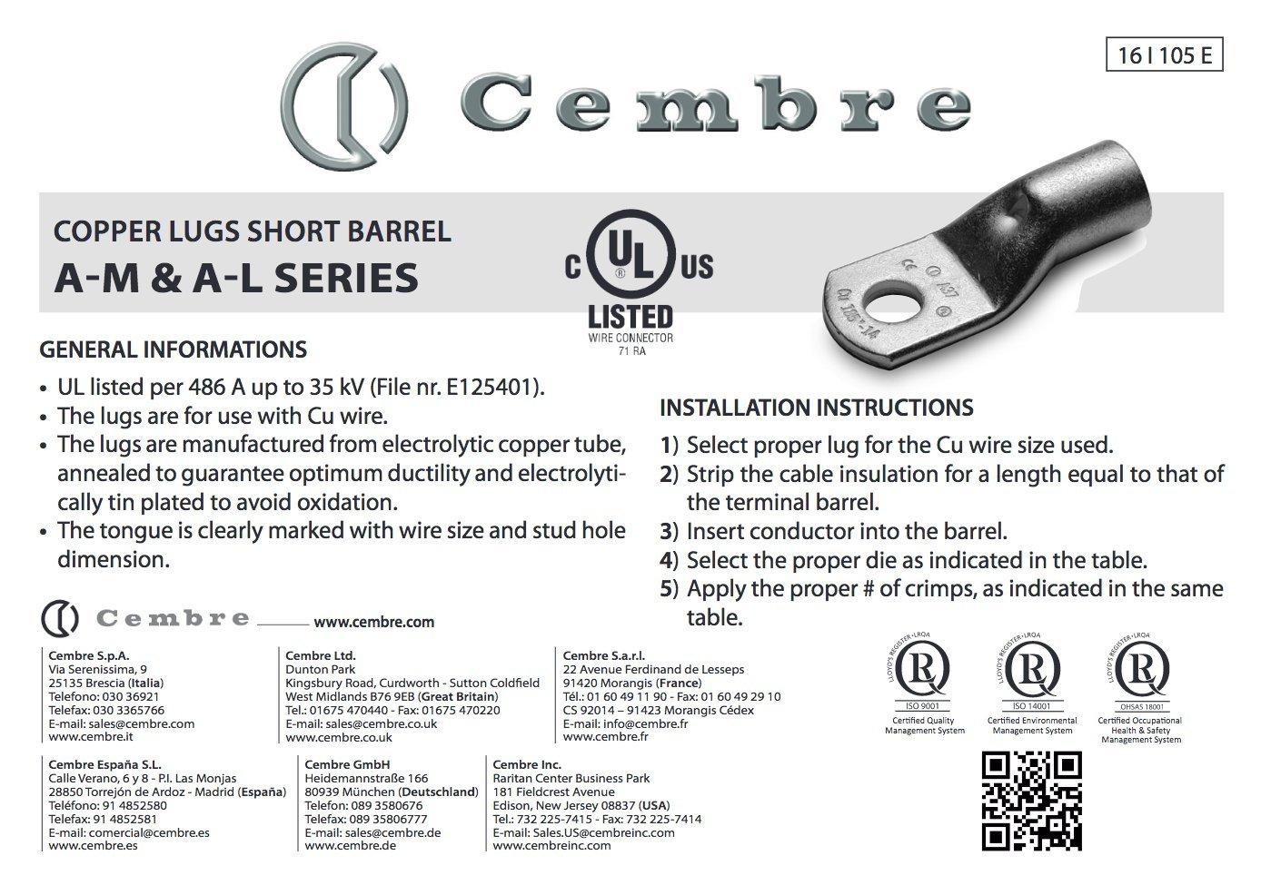 10/pezzi Cembre A10/di L8/tubo cavo da 90//° 50/mm/² m8/non isolati in rame stagnato
