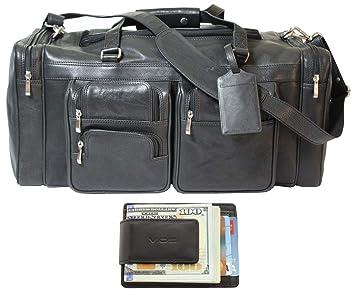 90b7935e2839 Viosi Malibu 20 Inch Genuine Leather Duffel Travel Bag Sports Gym Bag  Weekender Overnight Luggage