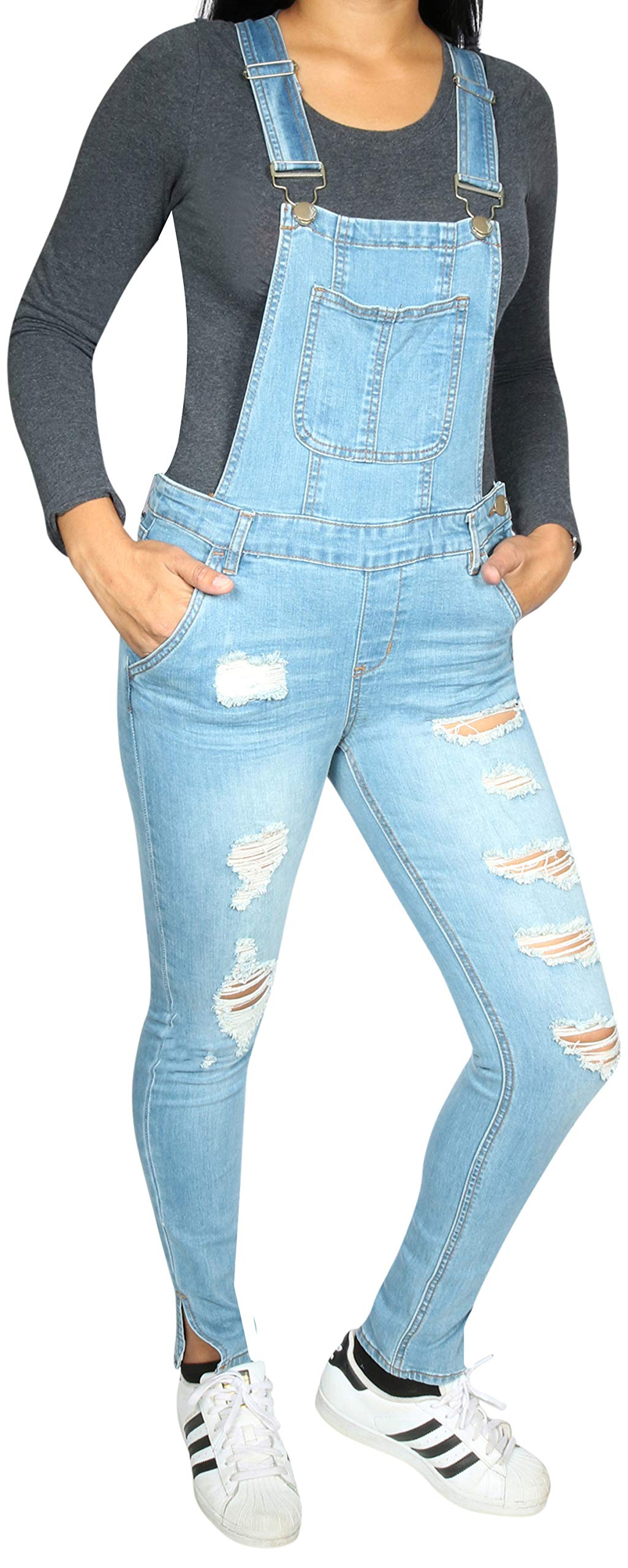 dollhouse Women's Skinny Denim Destructed Overalls, Medium Ankle Slit, Size 22'