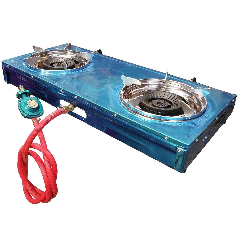 Portable Estufa de gas de propano 2 quemador de doble gama de barbacoa y Nueva Regulador Manguera: Amazon.es: Jardín