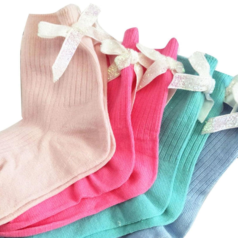 1- 12 ans Bebe Fille Chaussettes Haut Papilon Noueud 1 pair aleatoire Chausette au Genoux Tres Chaude