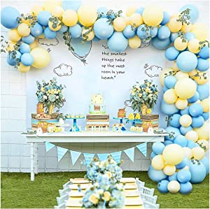 Pastel Balloon Garland Arch Kit with 100 pcs Blue and Yellow Balloons, DIY Balloon Bouquet Kit for Baby Shower, Wedding Bachelorette Birthday Party , Balloon Decorations