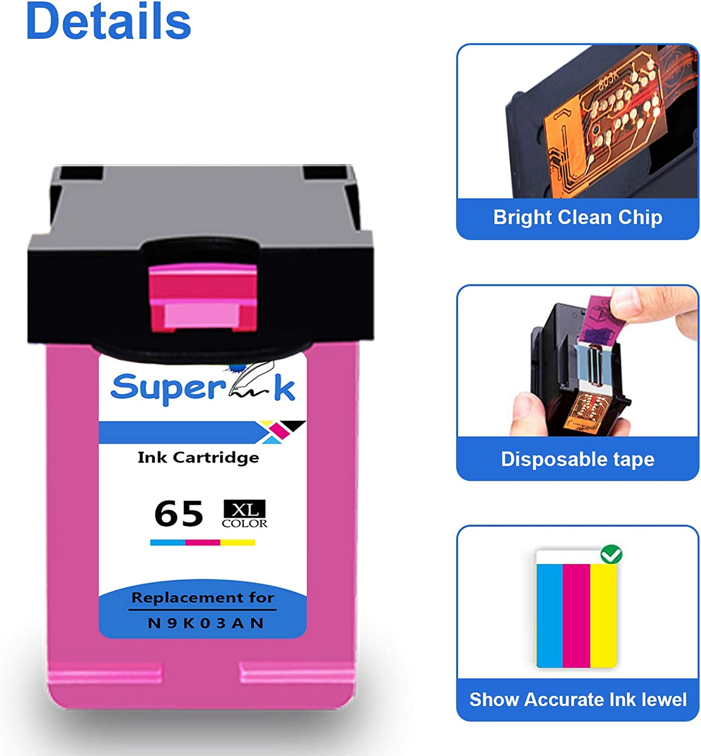 SuperInk 3 Pack High Yield Compatible for HP 65 65XL 65 XL Tri-Color Ink Cartridge N9K03AN with New Chip Use in Envy 5052 5055 5058 DeskJet 2622 2655 2624 3720 3752 3721 3755 3722 3758 Printer