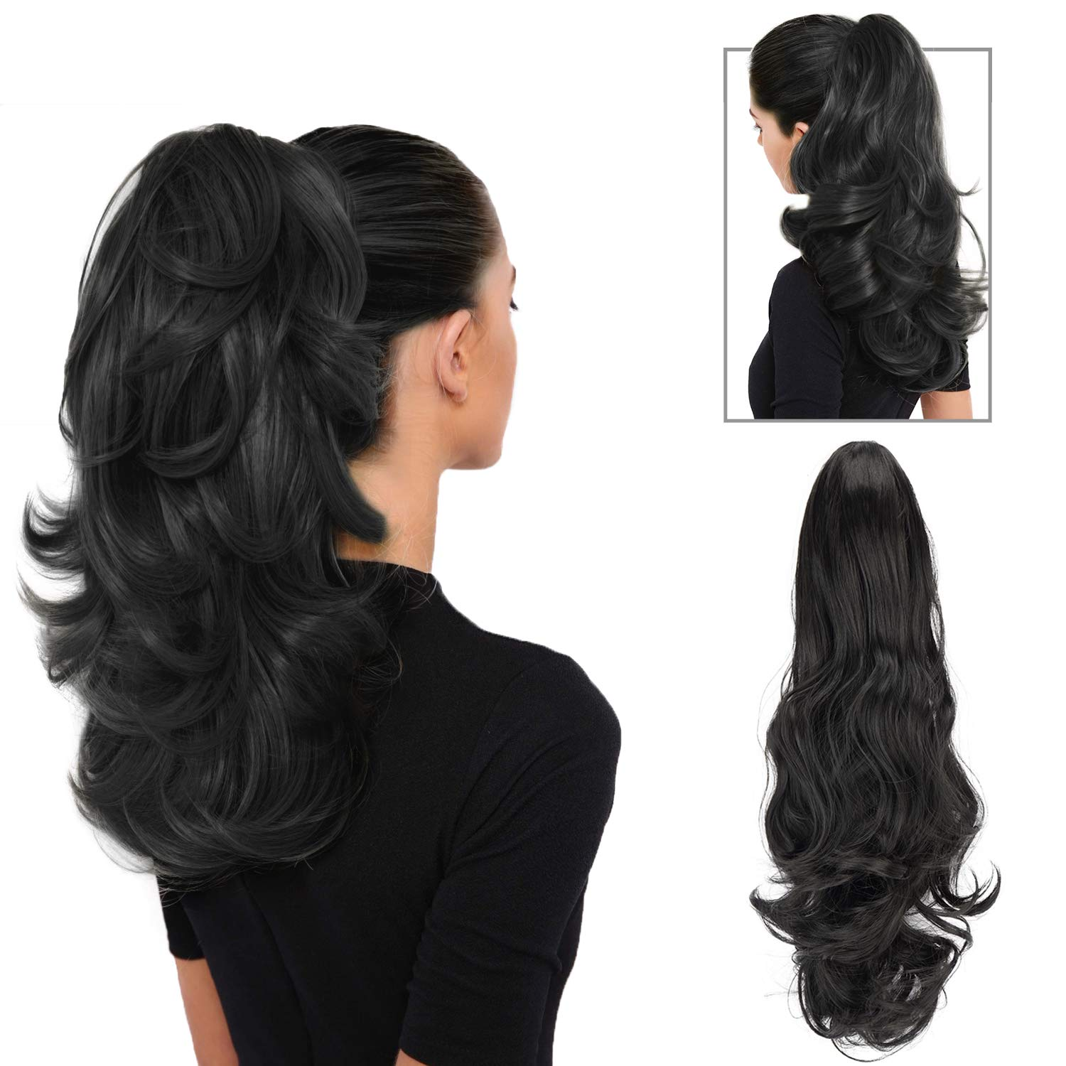 FESHFEN 19''Long Curly Synthetic Ponytail Extension Clip In/On Claw Hair Piece Drawstring(Off Black)